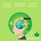 Save The World Concept For World Environment Day Campaign Poster. People With Idea For Environmental poster