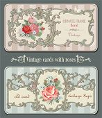 Vintage old cards with roses