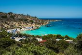 Beautiful Beach In The Blue Lagoon On The Sea. Seascape. Beautiful Coast Of Cyprus. Resort Area In C poster