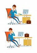 Business Affairs Of Businessman Working In Office Vector. People Talking On Phone With Clients And P poster