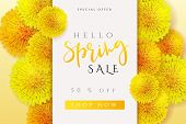 Vector Illustration Of Spring Promotion Banner Template With Hand Lettering Label - Spring - With Re poster