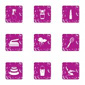 Beauty Parlour Icons Set. Grunge Set Of 9 Beauty Parlour Icons For Web Isolated On White Background poster