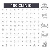 Clinic Editable Line Icons, 100 Vector Set, Collection. Clinic Black Outline Illustrations, Signs, S poster