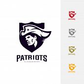 Patriots Logo Design Vector. Head Patriots Logo Design Template. Patriots Shield Logo Concept poster