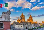 Mexican Flag Metropolitan Cathedral Zocalo Mexico City Mexico poster