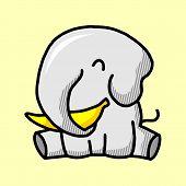 Elephant Icon In Trendy Design Style. Elephant Icon Isolated On White Background. Elephant Vector Ic poster