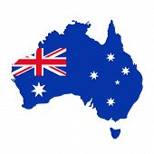 Australia Map Flag. Vector. Australian Continent. Silhouette Of Australia With National Flag With Un poster