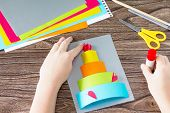 The Child Glue Greeting Card With Birthday Cake Congratulation. Childrens Art Project Craft For Kid poster