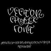 Chalk Curly Font. Grunge Script On Chalkboard. Vector Calligraphy Illustration. poster