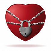 Heart Is Locked. Heart Is Wrapped With A Chain And Closed With A Padlock. Red Heart Locked With Chai poster