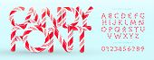 Candy Font. Vector Alphabet And Numbers. Sweet Candy, Lollipop Latin Letters. White Letters With Red poster