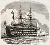 The Excellent old illustration, British navy gunners training ship in Portsmouth. By unidentified au