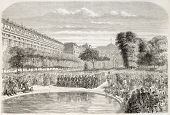 Military concert in the Royal Palace park, Paris. Created by Provost, published on L'Illustration, Journal Universel, Paris, 1858