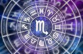 Zodiac Scorpio Symbol Inside Of Horoscope Circle - Astrology And Horoscopes Concept poster