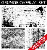Vector conjunto de superposición de Grunge. Simplemente coloque la textura sobre cualquier objeto para crear efecto angustiado.
