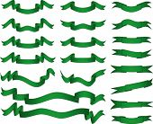 Green banners set. Fully editable, easy color change.