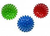 Close-up colored massage balls isolated on white background