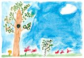 Children's paint summer nature
