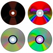 Set of compact disk isolated on white background