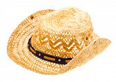 Stetson, straw hat  of cowboy isolated on white background