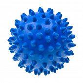 Close-up blue massage ball isolated on white background