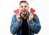 Ideas For Romantic Celebration Valentines Day. Romantic Symbol. Guy Well Groomed Hold Heart White Ba poster