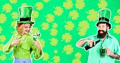 St Patricks Day. Happy Bearded Man In Leprechaun Hat Pours Beer In Glass. Bearded Leprechaun. Woman poster