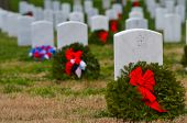 Headstones in Christmas time in Arlington National Cemetery - Washington DC United States