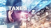 Concept Of Taxes Paid By Individuals And Corporations Such As Vat, Income And Wealth Tax. Tax Paymen poster