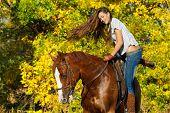 Menina bonita, abrangendo um cavalo no jardim