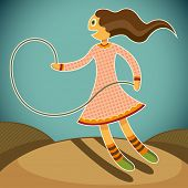 Girl with jump rope. Vector illustration.