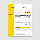 Invoice Minimal Design Template. Bill Form Business Invoice Accounting. poster