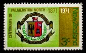 NEW ZEALAND - CIRCA 1971: A stamp printed in New Zealand shows coat of arms of Palmerston North city, circa 1971