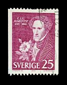 SWEDEN - CIRCA 1966: A stamp printed in Sweden shows Carl Jonas Love Almqvist - a romantic poet, ear