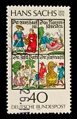 GERMANY-CIRCA 1976:A stamp printed in GERMANY shows image of the Hans Sachs  was a German meistersinger (