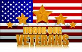 us honor our veterans gold illustration sign design on white