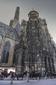 St. Stephens Cathedral In Vienna And Cabs, Desaturated