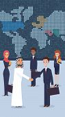 Vector Group Business People Standing In Office. Flat Illustration An Arab Man Nationality Welcomes  poster