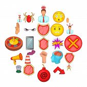 Stress Icons Set. Cartoon Set Of 25 Stress Icons For Web Isolated On White Background poster