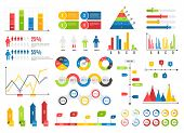 Infographics Chart Set. Charts Result Graphs Icons Statistics Financial Data Diagrams. Isolated Anal poster