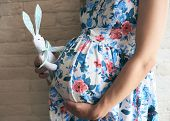 Side View Of Pregnant Mother In Dress Standing, Embracing Big Tummy And Keeping Lovely Toy Bunny Nea poster