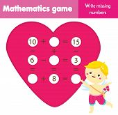Educational Game For Children. Complete Equations. Study Subtraction And Addition. St Valentines Day poster