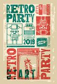 Retro Party Typographic Grunge Poster Design With Old Television Screen, Accordion And Robot. Vector poster