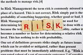 stock photo of scrabble  - Risk management in a wood scrabble with definition background - JPG
