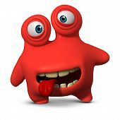 stock photo of ugly  - 3 d cartoon cute red monster toy - JPG