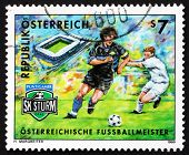 Postage stamp Austria 1999 Soccer Club SK Puntigamer SturmGraz