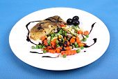 Fisch With Vegetables And Balsamic Cream