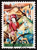 Postage stamp Belgium 1967 Caesar Crossing Rubicon, 15th Century