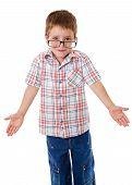 Little boy that shrugging aside