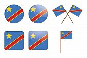 Badges With Flag Of DR Congo